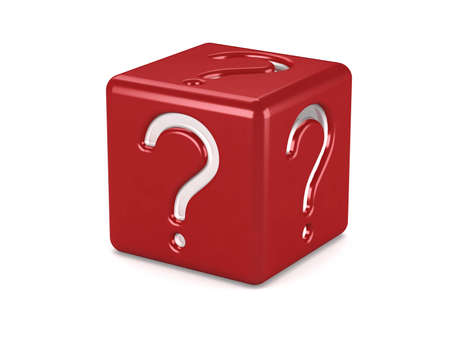 red box with question symbol isolated on white Stock Photo