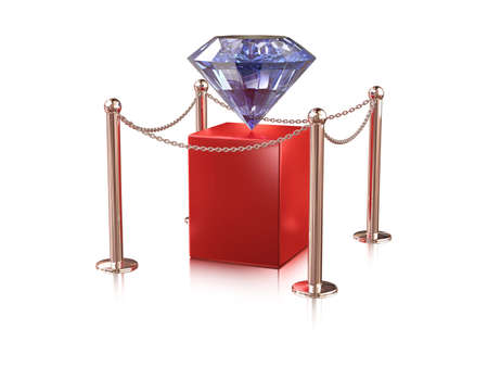 big diamond on red pedestal enclosure