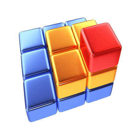coloured pyramid from boxes isolated Stock Photo - 3140006
