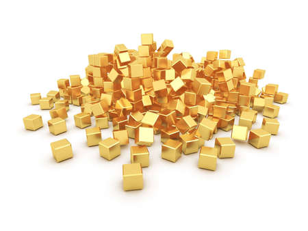 discomfiture: heap of gold boxes on a white background