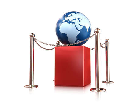 earth globe on red pedestal enclosure