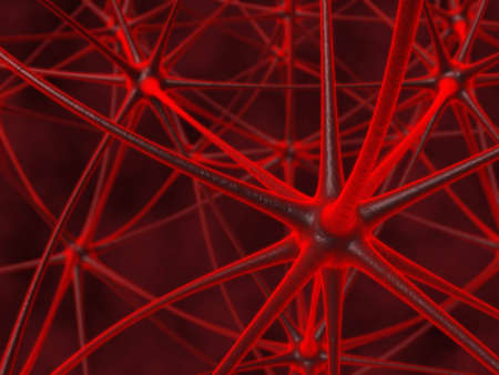 close-up view red neuronic chain  Stock Photo