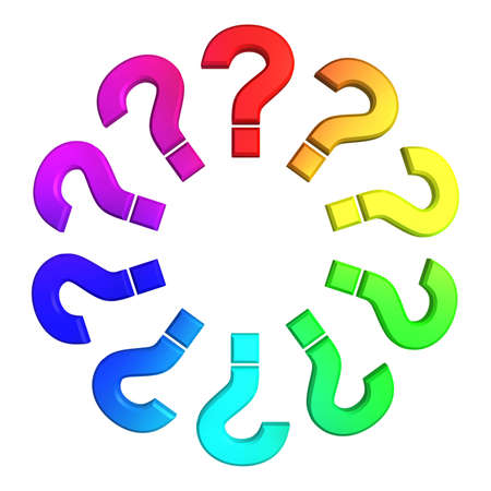 questions symbol color wheel isolated