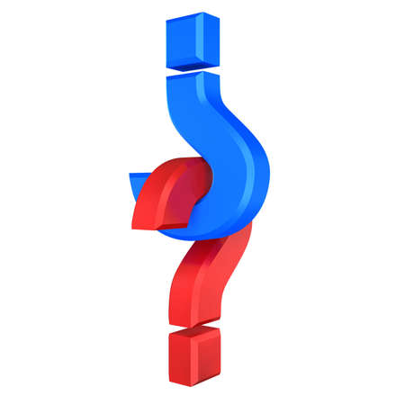 red and blue question symbol interlocked Stock Photo