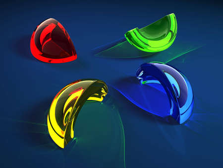 shard of glass: color glass shard with caustics effect  Stock Photo