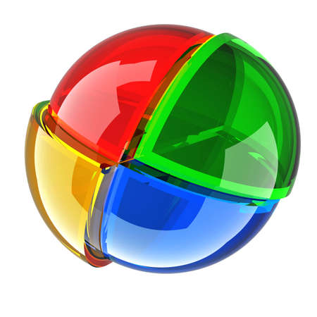 color glass ball isolated on whiter