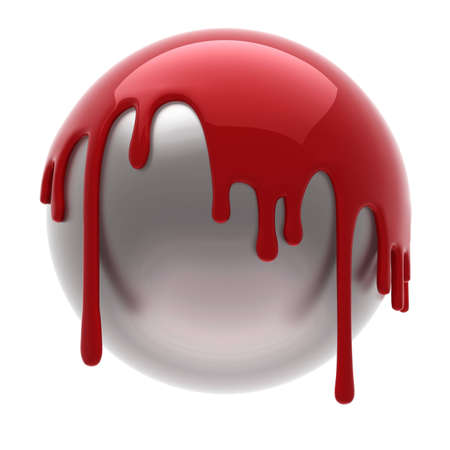 red poured steel ball isolated  Stock Photo