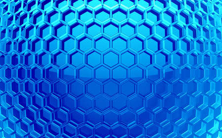 hexahedron: blue glass hexagon cell background