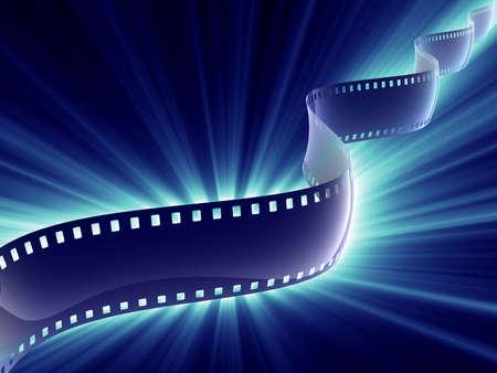 film strip with blue shine light Stock Photo