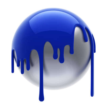 pouring: blue poured steel ball isolated Stock Photo