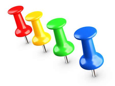 color thumbtacks on white background Stock Photo