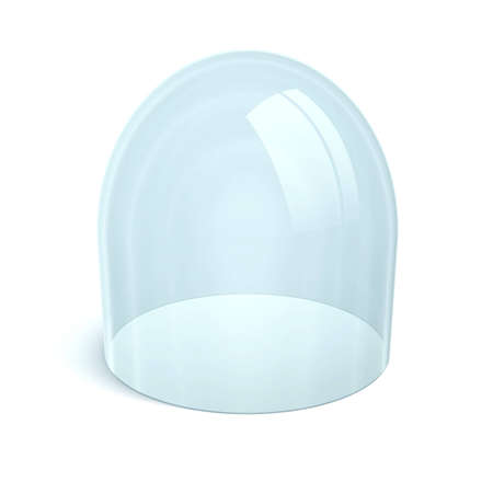clean glass dome on white