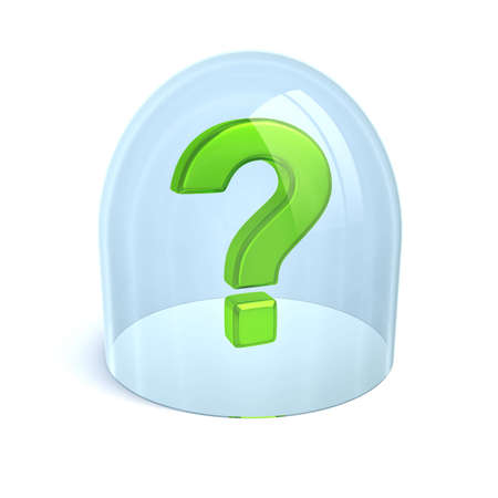 green question-mark under glass isolated