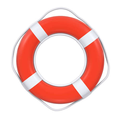 red life buoy with rope isolated  Stock Photo