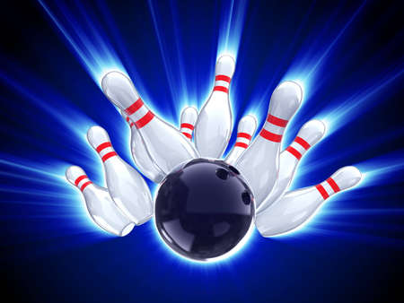 bowling strike shot with glow effect  Stock Photo