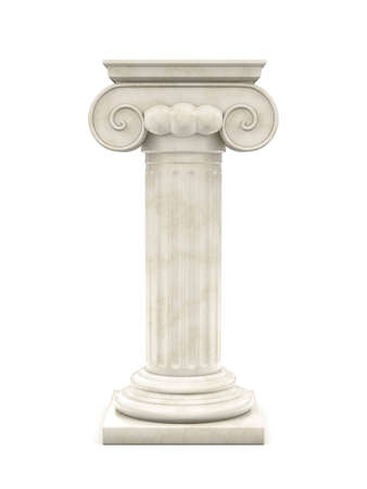 ancient roman: marble column isolated on white  Stock Photo