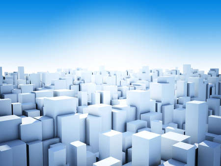 cityscape of abstract blue cubes city