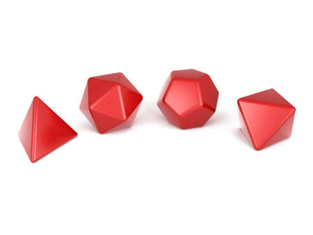 red Platonic solids isolated on white  Stock Photo