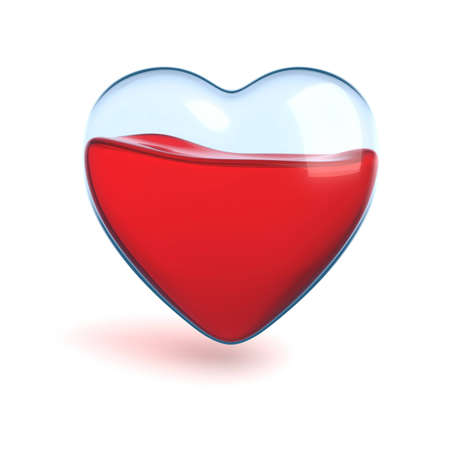 glass heart with red liquid isolated photo