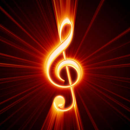 treble clef: shiny orange treble clef symbol Stock Photo
