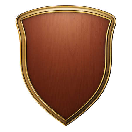 wooden shield with gold border