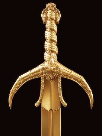 gold sword on black background Stock Photo
