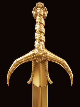 broadsword: gold sword on black background Stock Photo