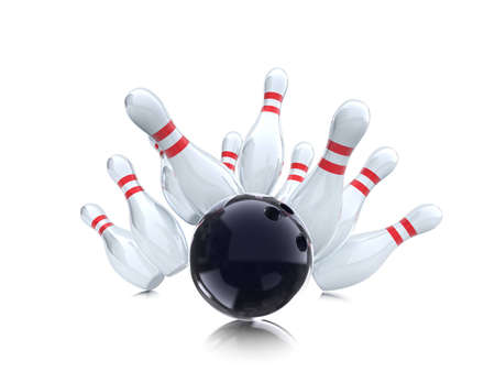 bowling strike on white background  Stock Photo