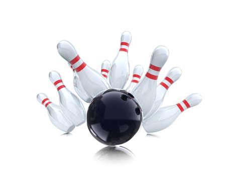 bowling strike on white background  Stock Photo