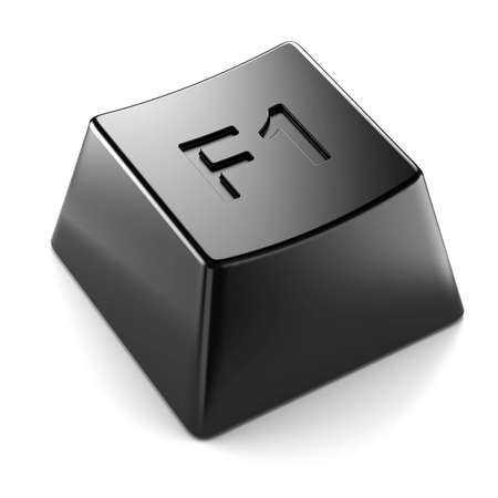 black keyboard F1 button isolated  Stock Photo