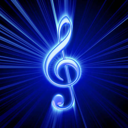 treble clef: shiny blue treble clef symbol