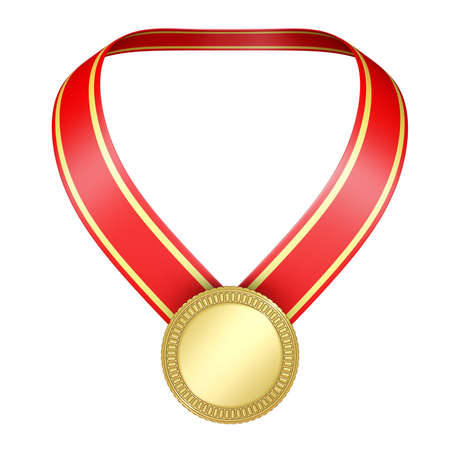 gold medal on red ribbon isolated