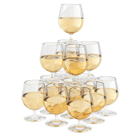 champagne glass stack isolated on white Stock Photo