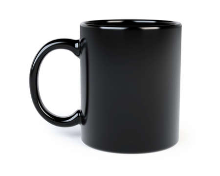 black coffee mug isolated on white