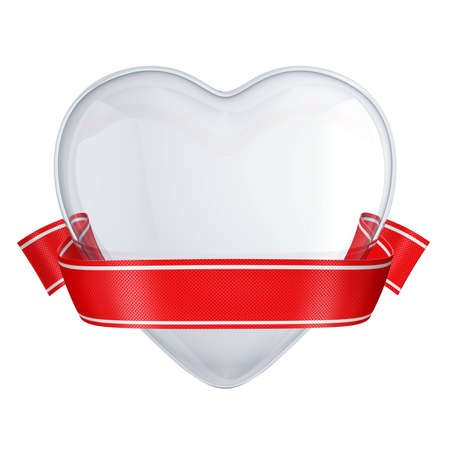 clear glass heart with red ribbon isolated