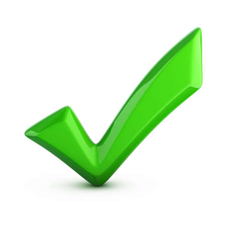 confirm confirmation: green checkmark isolated on white Stock Photo