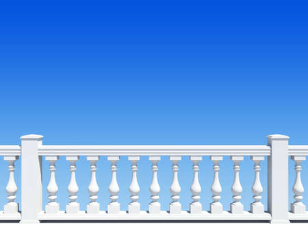 balustrade with pillar on sky background Stock Photo