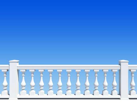 balustrade: balustrade with pillar on sky background Stock Photo