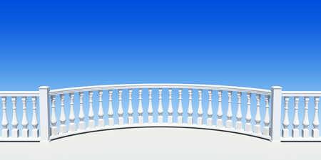 white balustrade semicircle with pillar Stock Photo