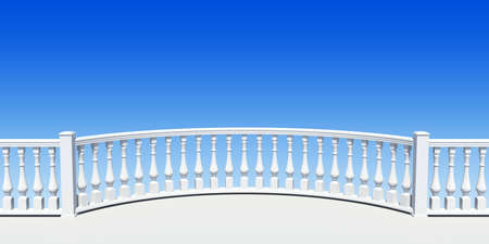 white balustrade semicircle with pillar Stock Photo