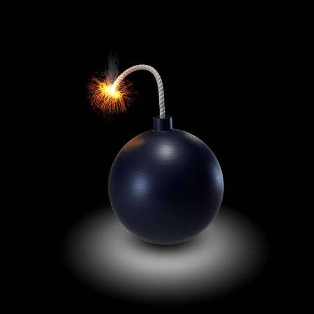 burning bomb on black background