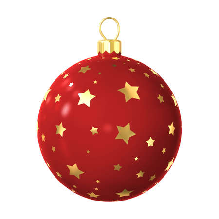 christmas sphere: red christmas-tree decoration ball isolated