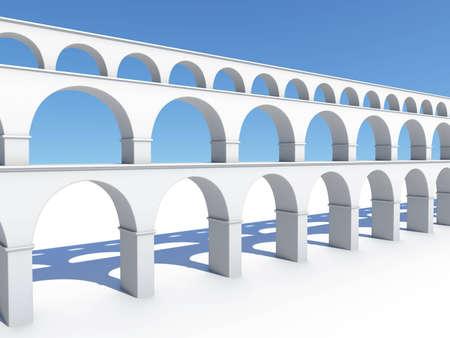 white 3d model aqueduct water-conduit bridge