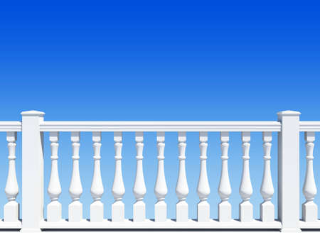 balustrade with pillar on sky background