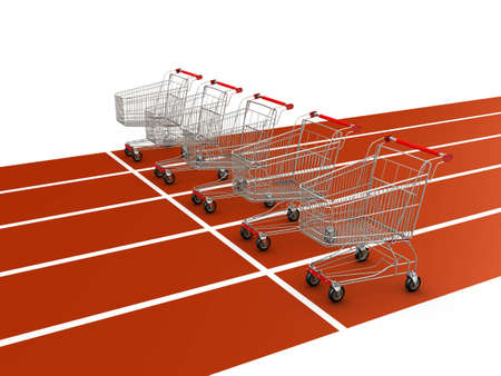 five shopping carts on starting line  Stock Photo