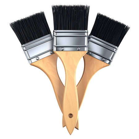 three clean paint brushes isolated Stock Photo - 7624852