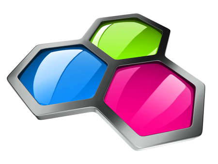 hexagonal color concept isolated on white  Stock Photo