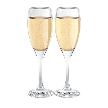 two champagne glass isolated on white Stock Photo - 7624846