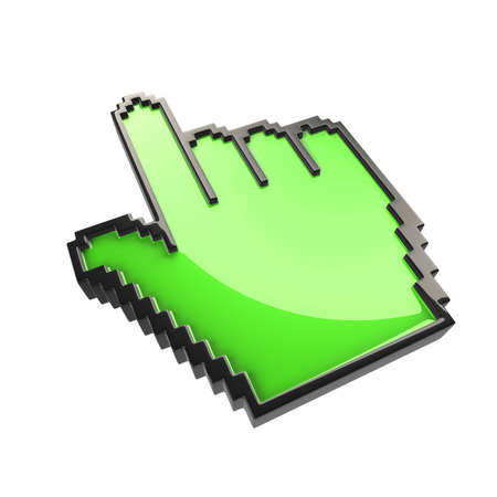 green  pixelated cursor hand  isolated Stock Photo - 7624807