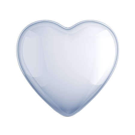 clean glass heart shape isolated